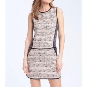 Theory Waldia-Alluring Tweed and Satin Panel Dress